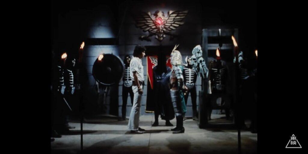 これよりショッカー元幹部 地獄大使の死刑を執り行う。「本郷くん、好敵手である君が私の死刑執行に立ち会ってくれて有難く思う。ありがとう。」