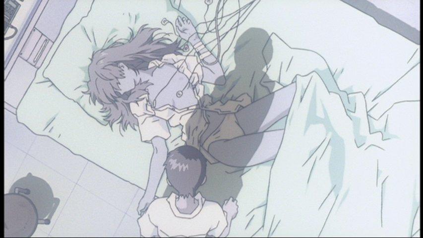 冒頭の有名なシンジの自慰シーン…胸が露わになった惣流・アスカ・ラングレーをオカズにして自慰する。