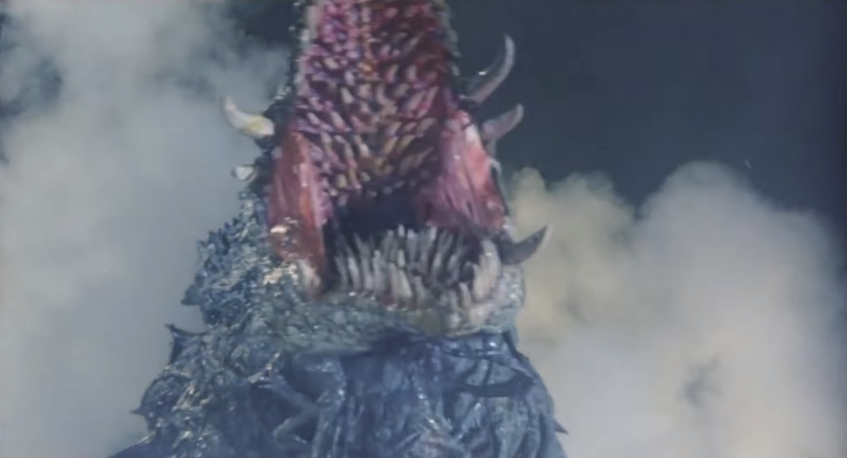 凶暴な植獣形態のビオランテは、最後には口腔内に撃ち込まれた熱線によって後頭部から背中にかけての部分を吹き飛ばされて大ダメージを蒙る。