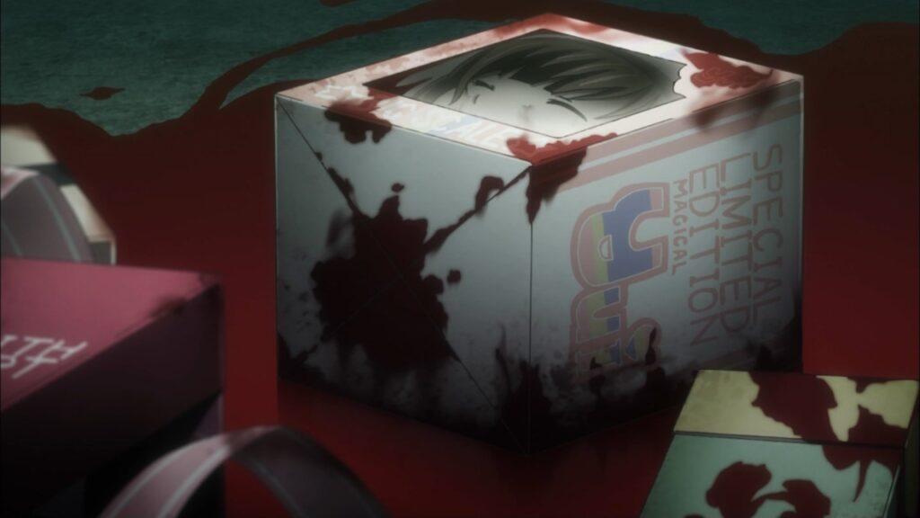 全身を解体され、箱に詰められて殺された橘 結衣(たちばな ゆい)。斬首されて箱に詰め込まれている顔(頭部)が目視できる。