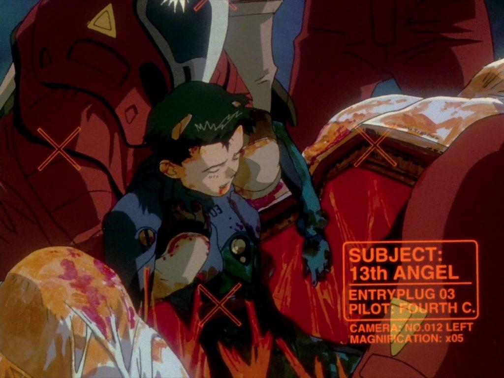 意識を失った鈴原トウジが救出されているシーン。鈴原トウジが乗っているエントリープラグの破壊(第18話「命の選択を」)