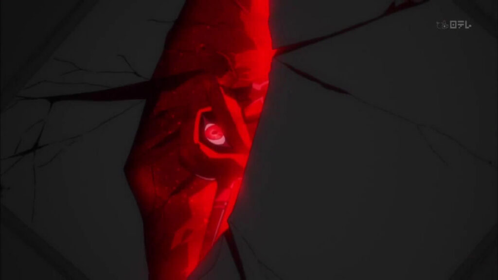 一時的に覚醒した初号機…初号機の赤目