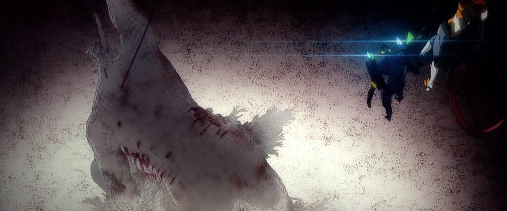 『Q』において、〈リリス〉の骸は地下の奥底、〈首〉は上空に浮かぶネルフ本部にある。