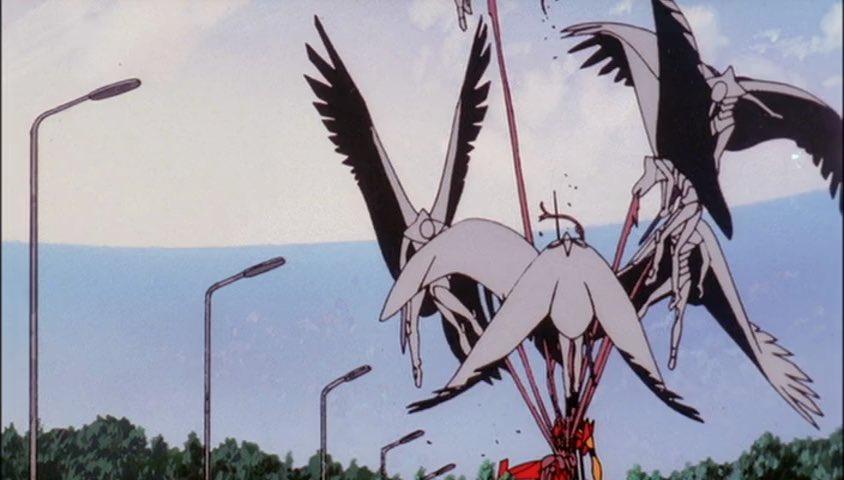 量産機が弐号機の内臓を喰い千切り飛翔し臓物を体外に引きずり出す映像はかなりグロい。