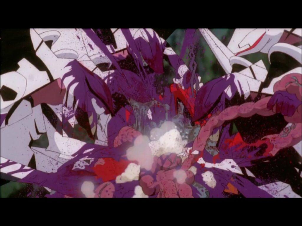 全機復活した量産機は動けない弐号機に群がり鳥葬の如く弐号機を捕食。内臓が露出・捕食され、あまりにも猟奇的でグロいシーン。