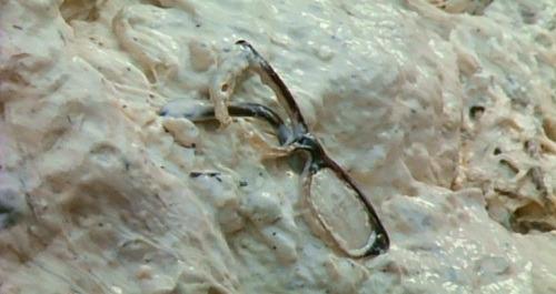長峰真弓(中山忍)は、ギャオスのウンチ(フン)の中に恩師である平田の眼鏡を見つけた。