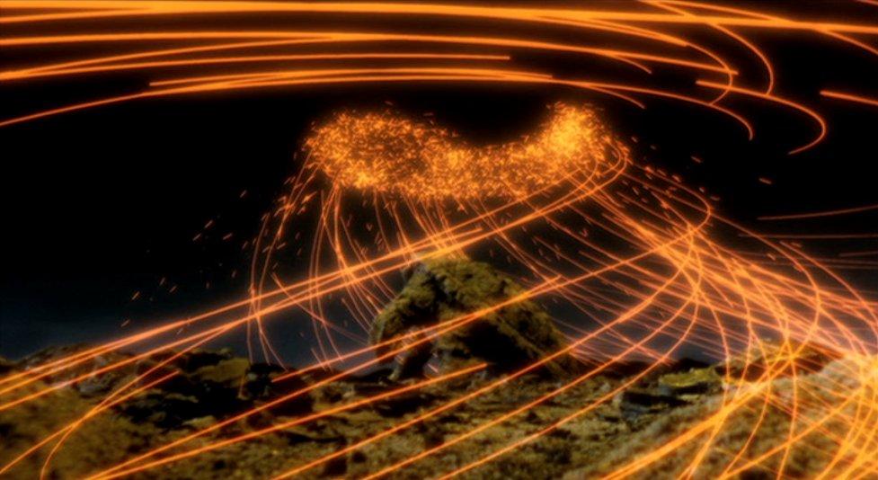 子供たちの祈りの力が浅黄の勾玉を通じてガメラに集まっていく。レギオンプラント(草体)爆発時に炭化したガメラが、「人間の祈り」、特に子供の祈りによって復活する。