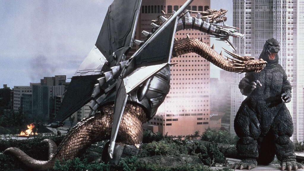 メカキングギドラは、ゴジラに敗れて海底に沈んだキングギドラを、エミーが23世紀の科学でサイボーグに再生改造した姿。ゴジラを倒す為に、23世紀からタイムワープして現代にやって来た。