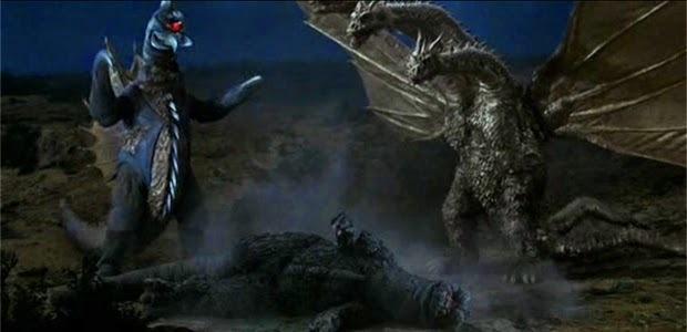 ゴジラは、アンギラスを相棒として、キングギドラやガイガンと戦う。