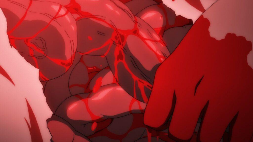 『ひぐらしのなく頃に業』16話のテレビ放映版やネット配信版では黒塗りの修正が施されたが、無修正版では梨花の内臓が描かれ、沙都子が何度も鍬を振り下ろし内臓が飛び散ったり、内臓を引きずり出すシーンも。