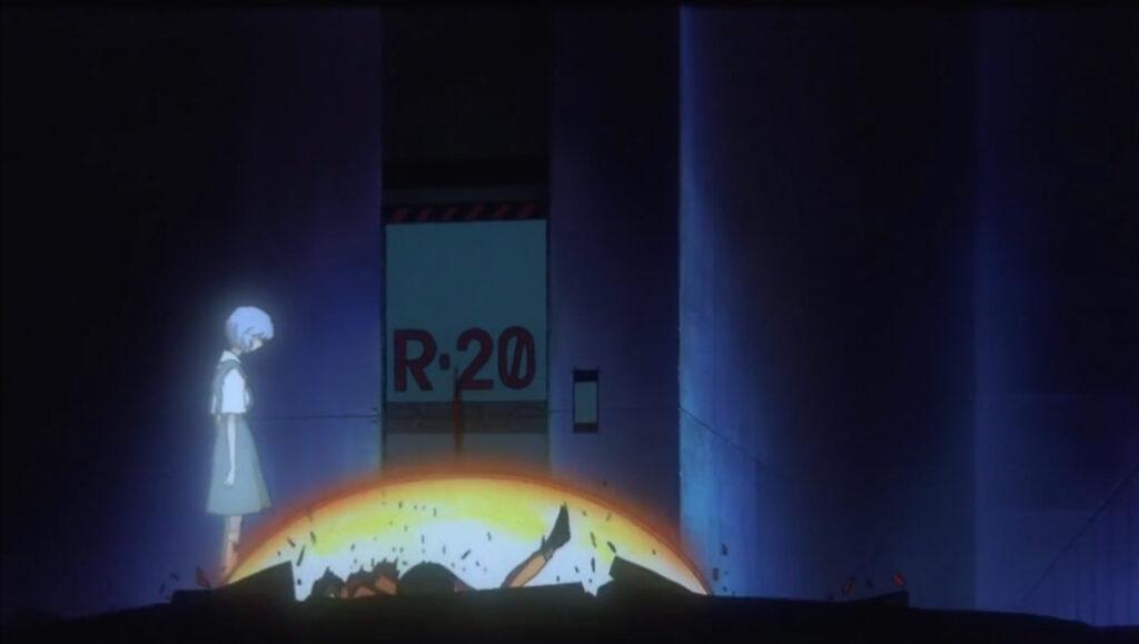 旧劇場版にて、綾波レイが現れ、ミサトの遺体が爆発した時に真っ二つに…
