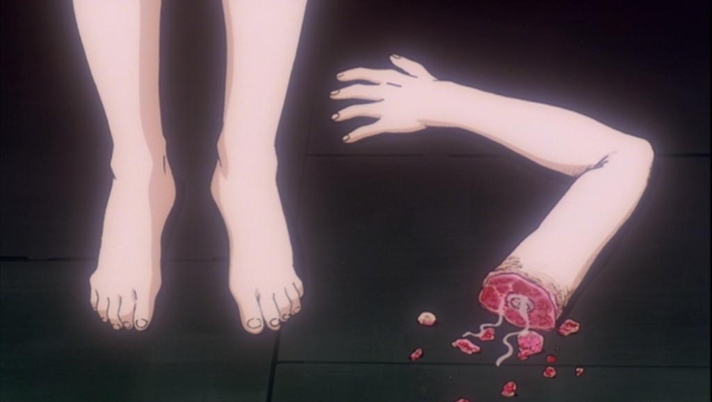 綾波レイの腕が落ちるシーン。
