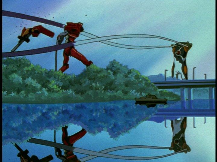 EVA弐号機が両腕と頭部をゼルエルに切断されて敗れる。