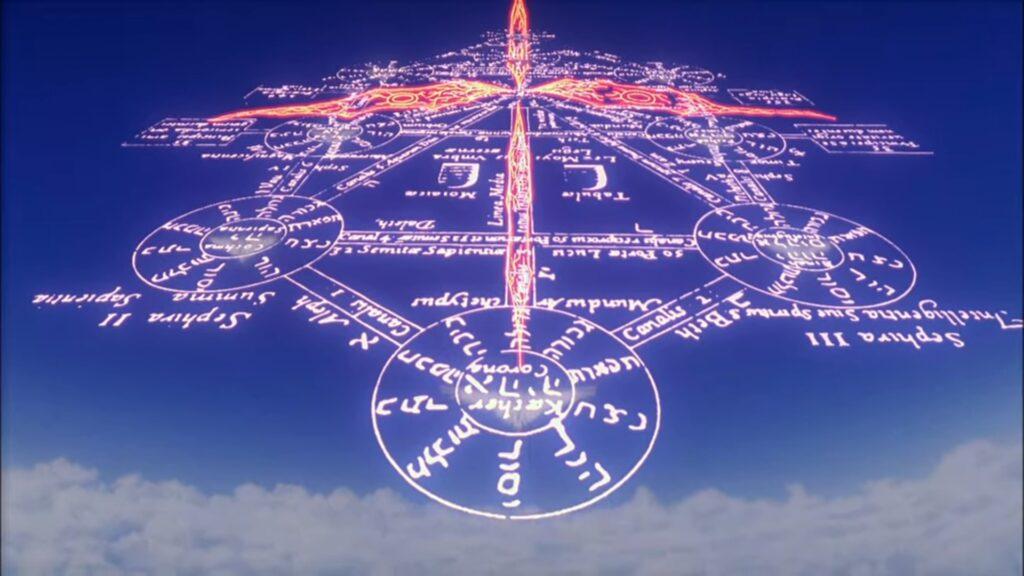初号機を取り囲み空中にセフィロトの樹を描く。