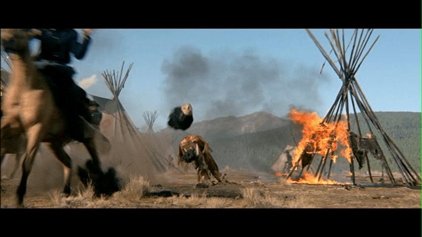 ラスト15分のインディアン虐殺シーン。逃げ出てきた子供の首をはねるシーンはあまりにも衝撃的。