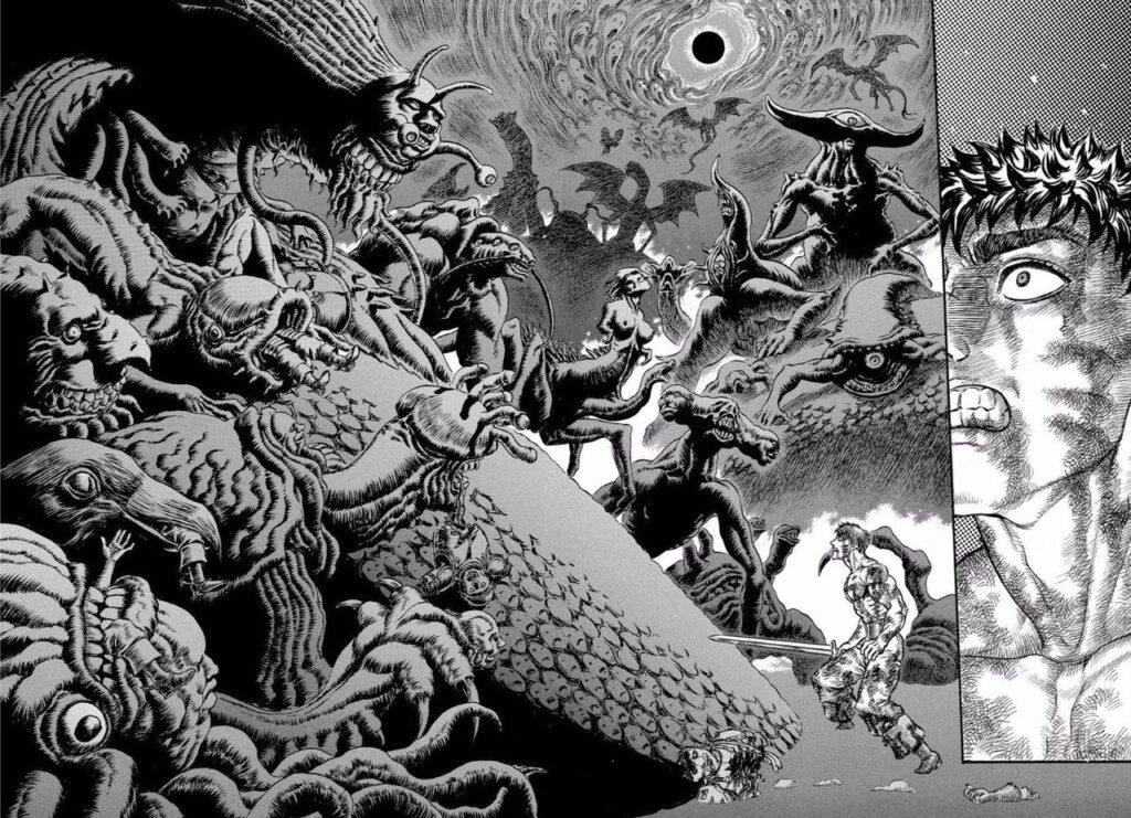 「ベルセルク 黄金時代篇」で描かれる「蝕」は地獄絵図そのもの。読者に多大なトラウマを植え付けた。「鷹の団」を生贄にすることにより降魔の儀を行う。