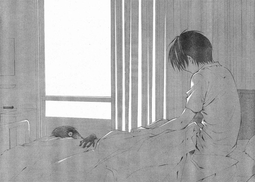漫画版『ひぐらしのなく頃に』の中でも、トラウマ必至の恐ろしさで有名な「綿流し編」のラストシーン…圭一のベッドに何者かが…