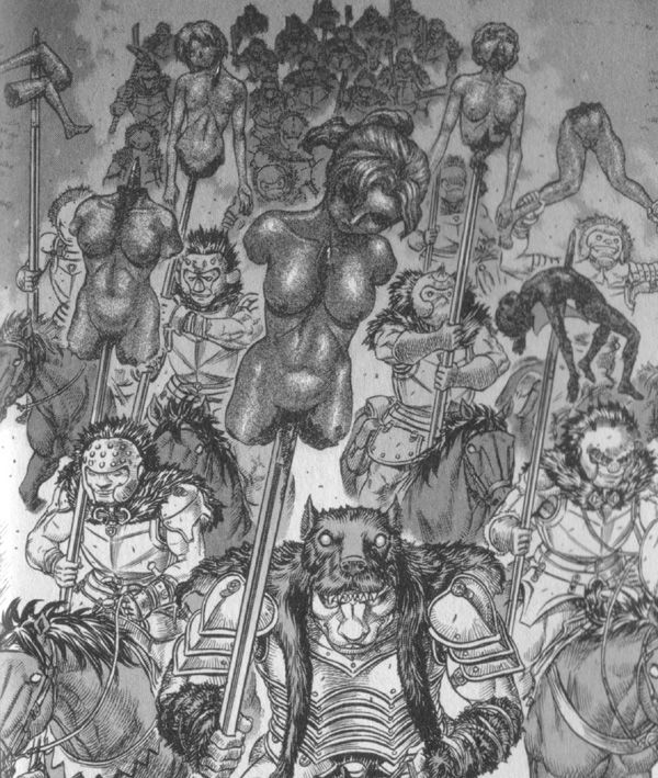 ワイアルド率いる『黒犬騎士団』は、凌辱し惨殺した村娘達の屍を槍に刺した状態で追い、鷹の団の面々を戦慄させた。