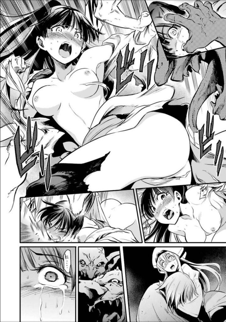 『ゴブリンスレイヤー』の冒頭の物語に登場する女武闘家のリョナ・シーン。ゴブリン達に強姦・輪姦される最悪の結末を迎えた。