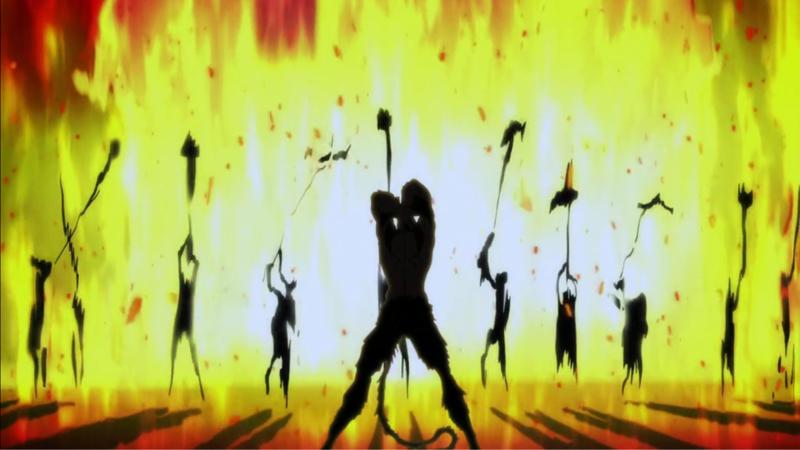 暴徒と化した人間は、牧村美樹を惨殺してその生首や手足や胴体を槍の先に掲げて狂喜乱舞している。