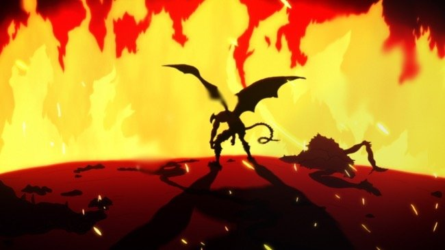 不動明・デビルマン「地獄へ堕ちろ、人間ども」。不動明はその場にいた「人間でありながら悪魔になった者たち」を怒りの炎で焼き尽くした。