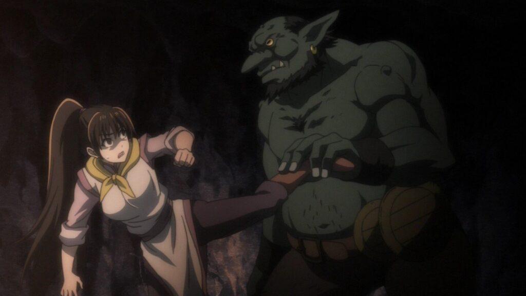 女武闘家(ゴブリンスレイヤー)は、数匹のゴブリンを倒すもののホブゴブリンには歯が立たず、戦闘不能にされる。