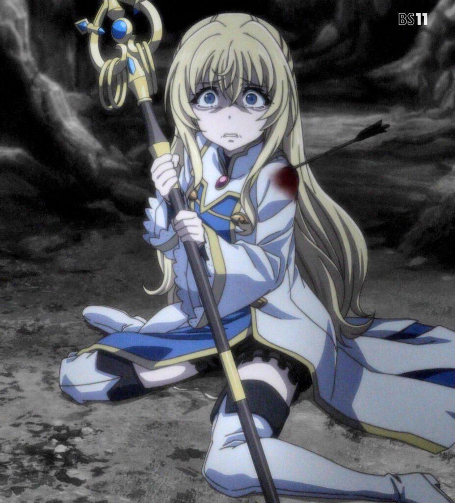 どうする事も出来ない女神官は彼女の「逃げて」の言葉に従い、魔法使いを連れて「ごめんなさい…ごめんなさい…」と泣きながら、彼女の悲鳴と暗闇の中を逃げるしかなかった。