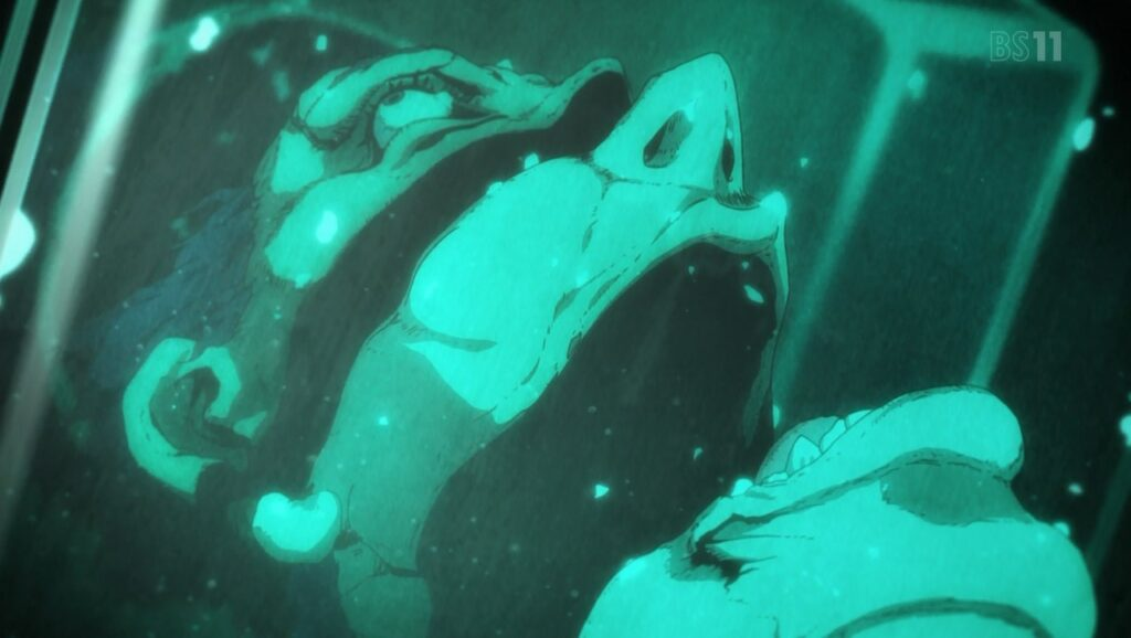 『ジョジョの奇妙な冒険 黄金の風』第10話「暗殺者(ヒットマン)チーム」 / 「ホルマリン漬け」にされた「輪切り」のソルベは、視聴者にトラウマを植えつけた。