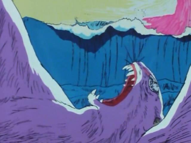 大波にさらわれるノロイの残骸。死んだ姿も恐ろしいノロイ。ノロイの本当の最期。ノロイの巨大な骸は、渦の中に沈んでいった。