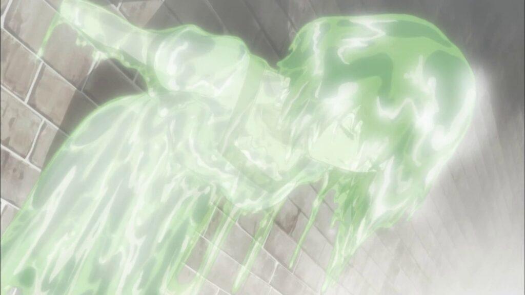 『steins;gate(シュタインズゲート)』第14話「形而下のネクローシス」 ゼリー状になった椎名まゆり(通称『ゲルまゆ』「ゲルまゆしぃ」)は、みんなのトラウマ。
