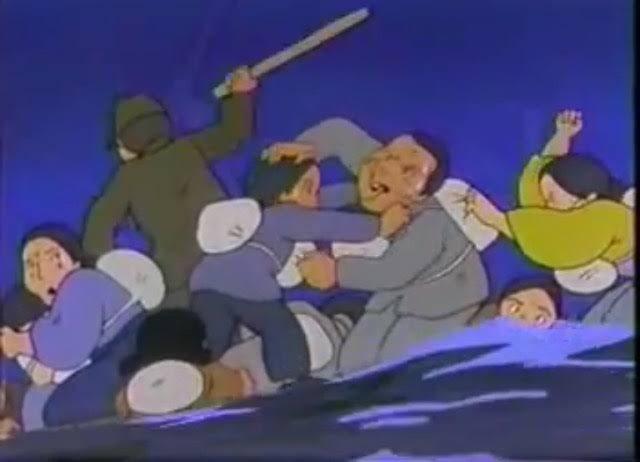 筏の奪い合い。いかだに先に乗っていた者があとから乗ろうとする者を突き落としたり、「もう沈むから乗るな!」「乗せろ!」と修羅場。