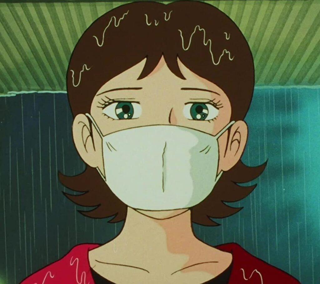 TVアニメ版『笑ゥせぇるすまん』第9話「プラットホームの女」(1989年12月19日) / 整形手術に失敗し、あまりにも無惨なものとなった素顔。恐ろしいトラウマ回として語り継がれている。