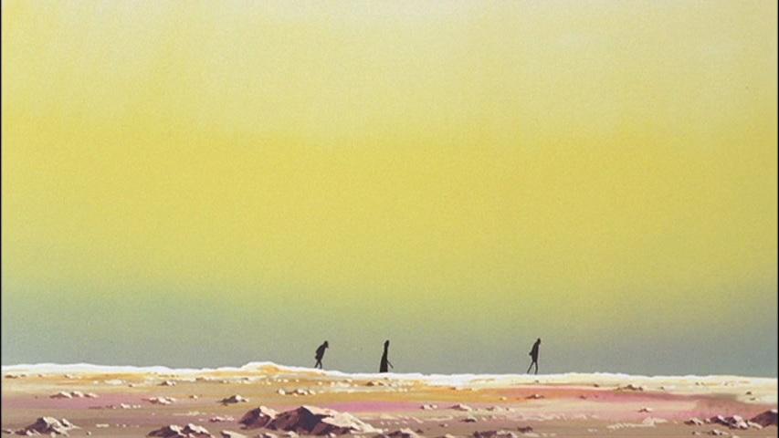 砂漠を歩くルパン、次元、五右ェ門