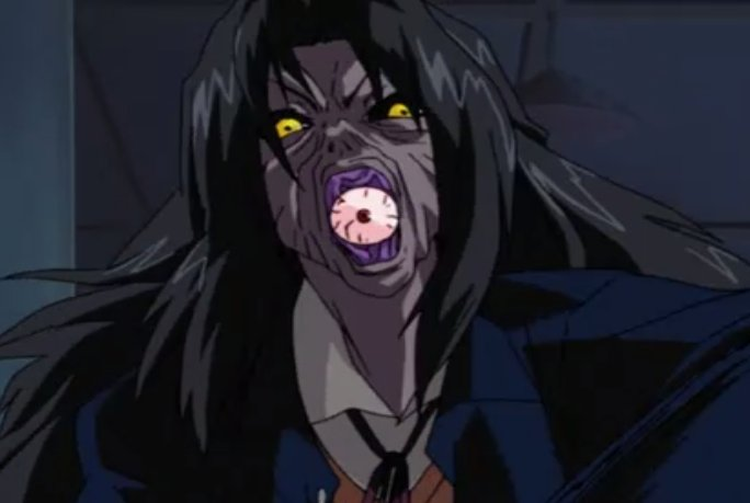闇目(やみめ)とは、テレビアニメ「学校の怪談」に登場する魔物。第15話「悪魔のおまじない 闇の儀式」に登場。幽霊やお化けの類ではなく異世界からの魔物。人間に憑依してその人間の全てを奪う。一度憑依された人間は二度と元に戻す事はできない。