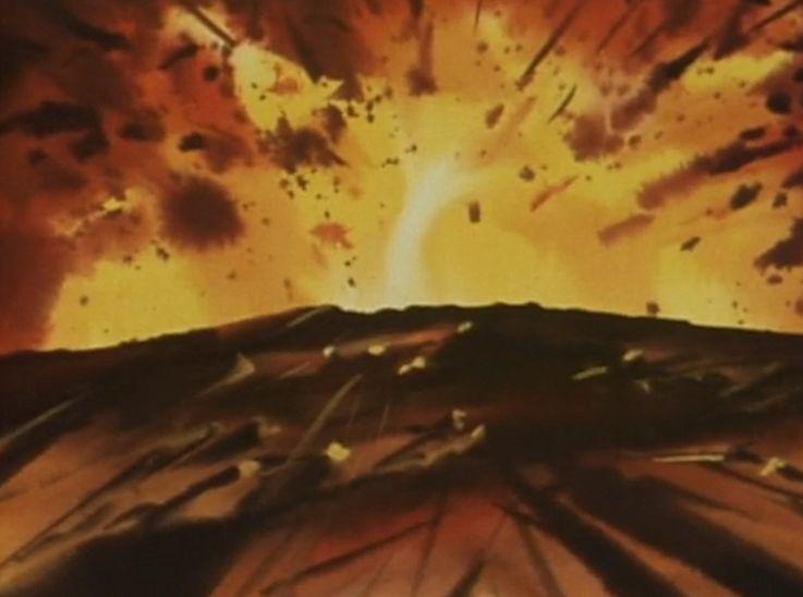 浜本の人間爆弾が爆発。まわりの人々にも誘爆し、大爆発を起こした。